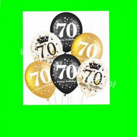 Zestaw balonów z napisem 70 , 1 op - 6 szt , 30 cm