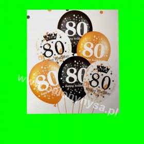 Zestaw balonów z napisem 80 , 1 op - 6 szt ,30 cm