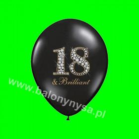 Balon czarny z napisem 18, 1 op - 6 szt , 30 cm
