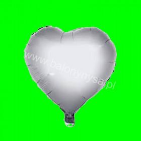 Balon serce na patyk srebro 26cm 3 szt