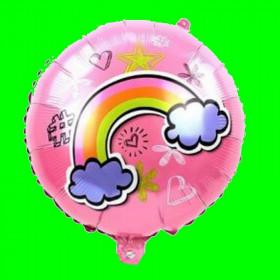 Balon foliowy różowy z tęczą 45x45cm