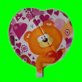 Balon serce miś-45 cm