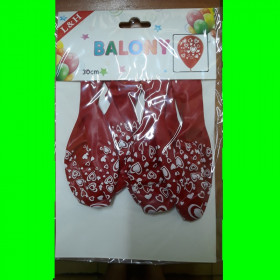 balon-czerwony-białe-serduszka -szt-5