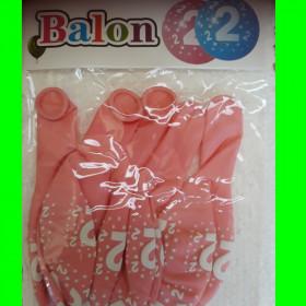 Balon cyfra-2- różowa-30 cm