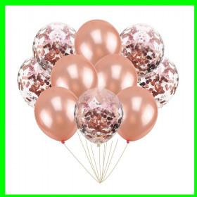 Zestaw balonów różowe złoto z konfetti