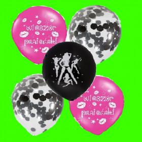 balon wieczór Panieński - czarne konfetti 30cm