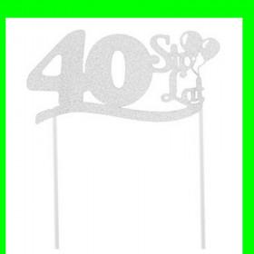 Topper na tort - 40 srebrna