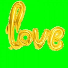 Balon napis-love-złoto