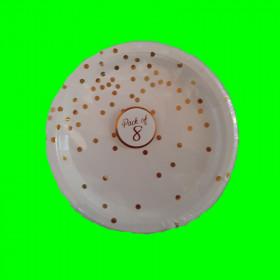 Talerzyk biały w złote kropki - 18 cm