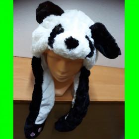 Czapka Pies czarno - biały ruchome uszy