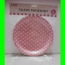 Talerzyki papierowe różowe-op-8 szt