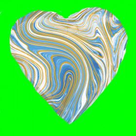 Balon serce niebieskie marmur