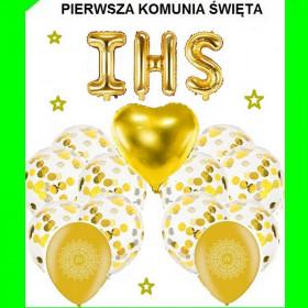 Zestaw balonów -I-Komunia Św-op -16 szt -złota