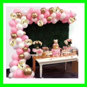 Girlandy balonowe-róż-biało-złota