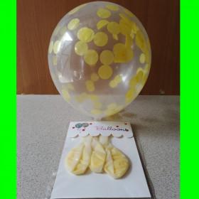 Balon z konfetti żółte-op-3 szt