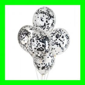 Balon z konfetti czarne-op-5 szt