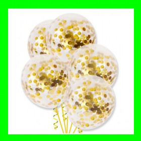 Balon z konfetti złoto-op-5 szt